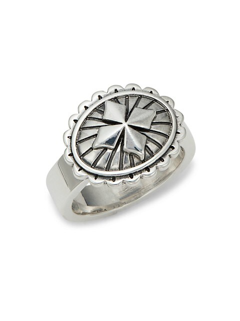 King Baby Studio Sterling Silver MB Cross Concho Ring