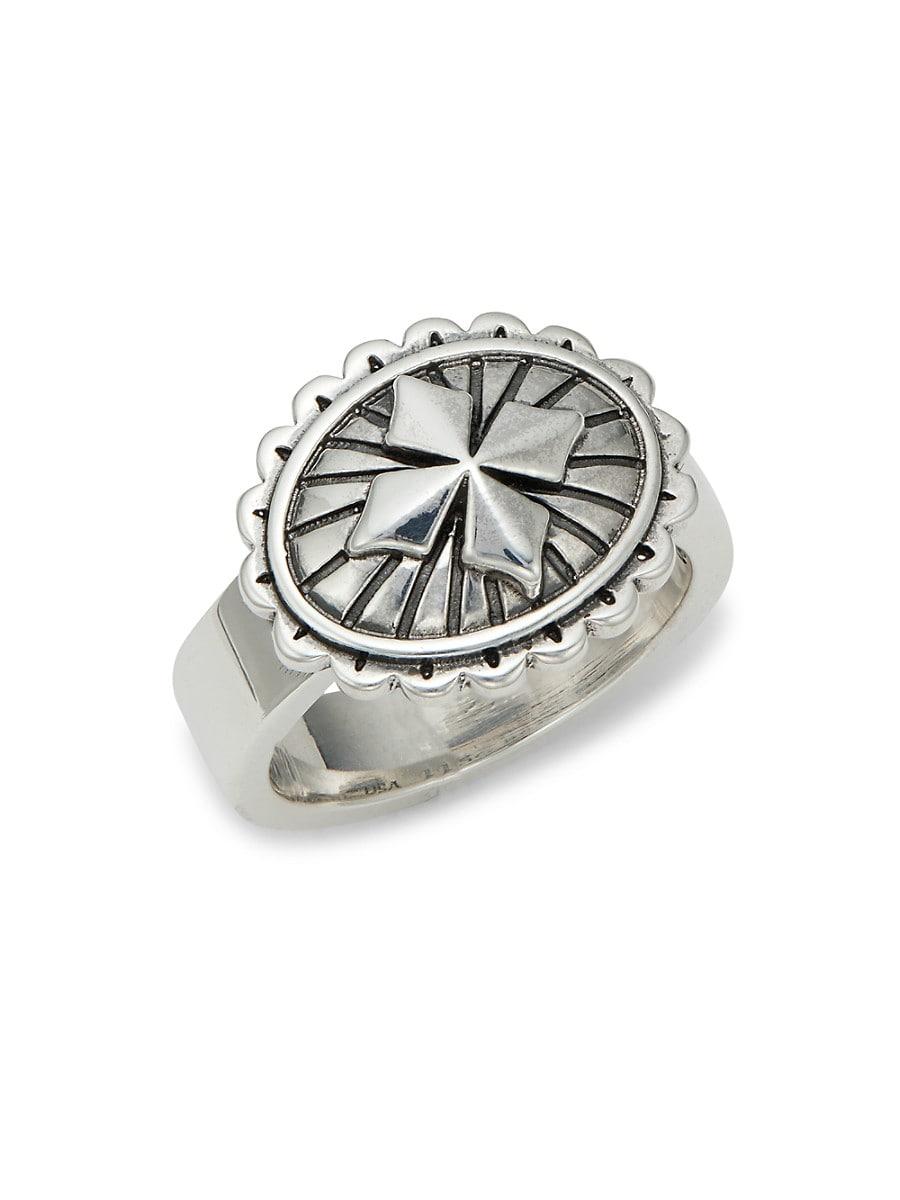 Men's Sterling Silver MB Cross Concho Ring