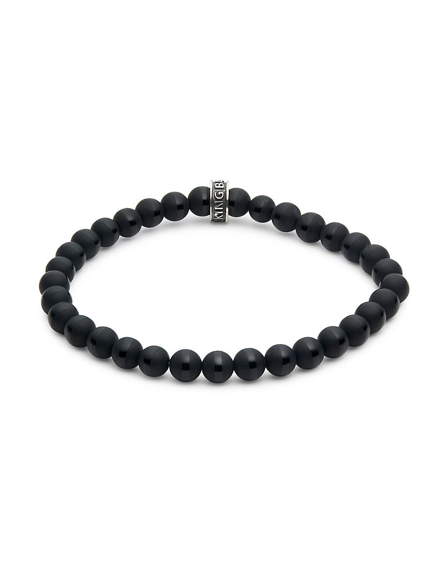 Men's Sterling Silver & Striped Onyx Stretch Bracelet