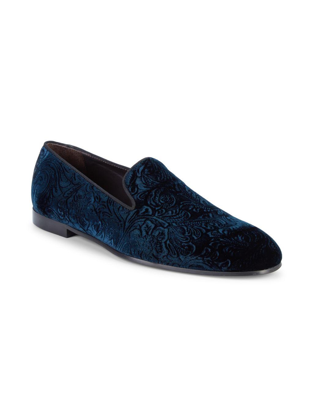 Bruno Magli Floral Velvet Loafers
