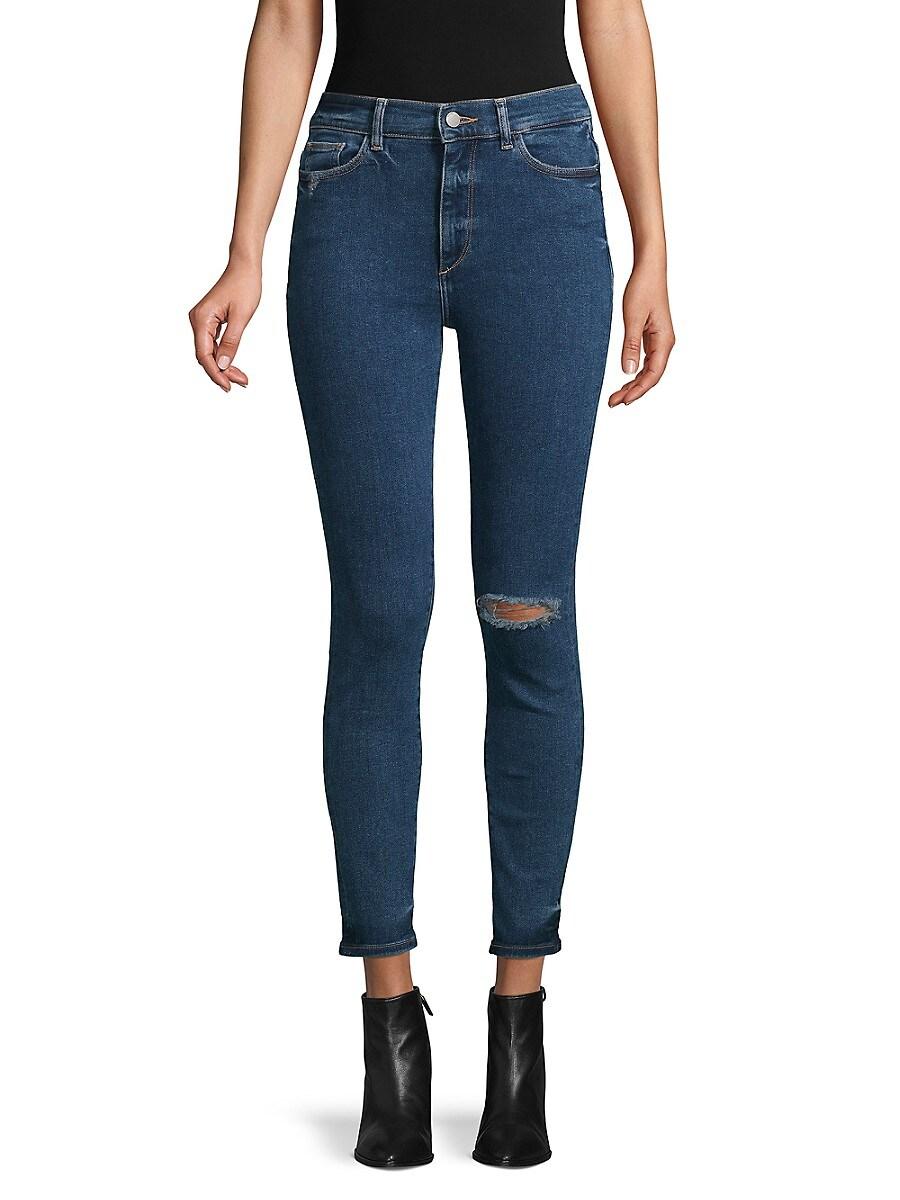 DL1961 Premium Denim Women's Farrow High-Rise Ripped Skinny Ankle Jeans