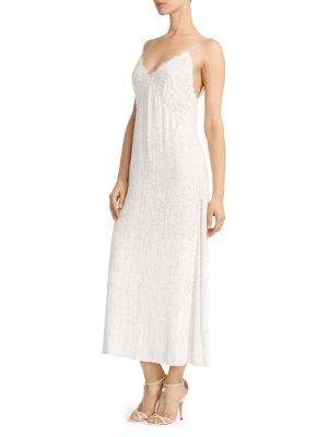 Magda Butrym Hawaii Sequined Slip Dress In Cream