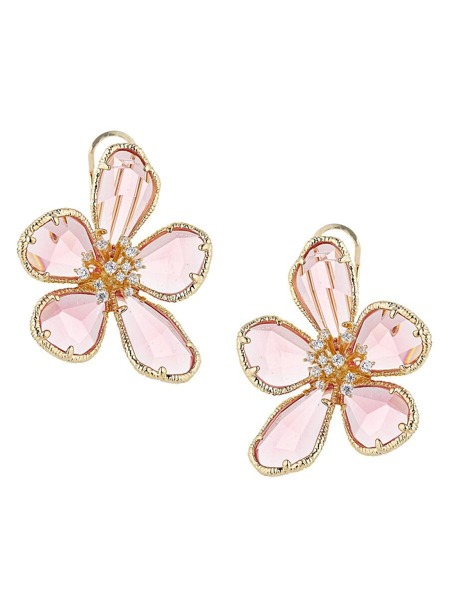 Women's Georgia Pink & White Cubic Zirconia Flower Earrings