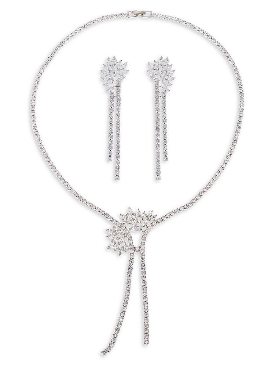 Women's Rhodium-Plated & Crystal Earrings & Necklace Jewelry Set