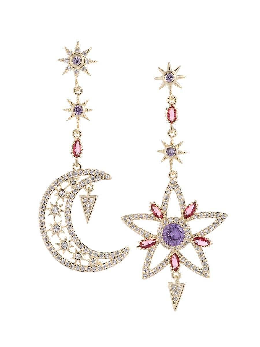 Women's 18K Goldplated & Crystal Star & Moon Drop Earrings