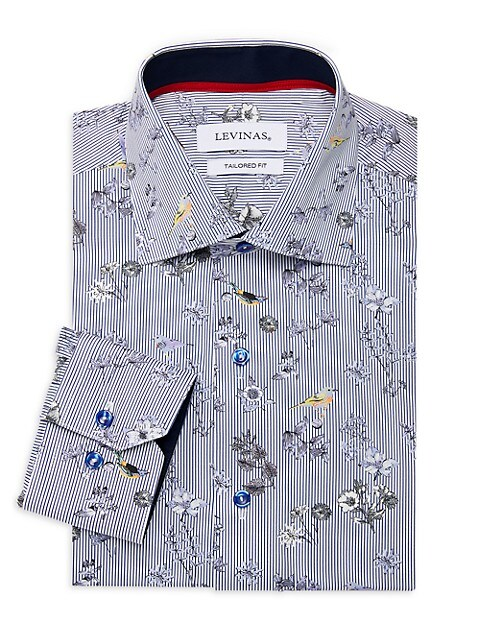 Tailored-Fit Striped & Floral-Print Dress Shirt