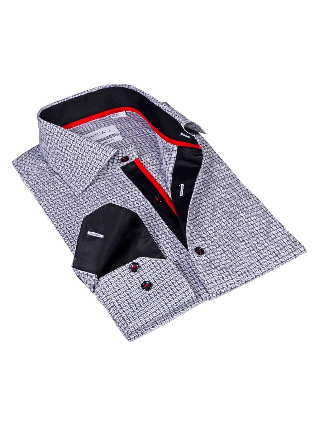 Levinas Tailored-Fit Grid-Print Dress Shirt