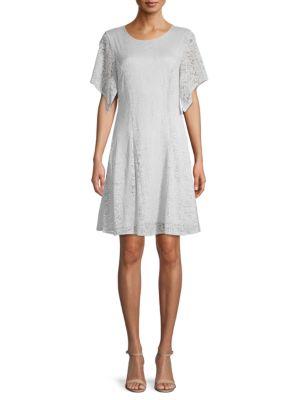 Bcbgmaxazria Short-sleeve Lace Mini Dress In Pearl Blue