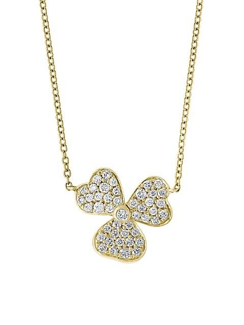 Effy 14K Yellow Gold & Diamond Clover Pendant Necklace
