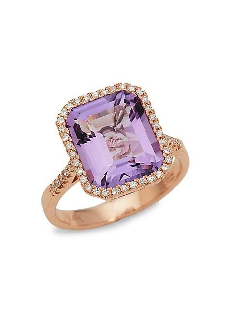 Effy 14K Rose Gold, Pink Amethyst & Diamond Ring