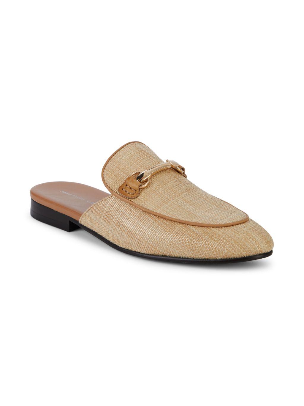 Saks Fifth Avenue Reese Raffia Leather-Trim Horsebit Mule Loafers