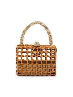 아라나즈 ARANAZ Luna Wicker Handbag,TAN