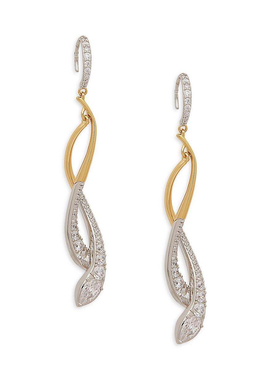 Women's Rhodium-Plated & Goldplated Sterling Silver & Crystal Drop Earrings