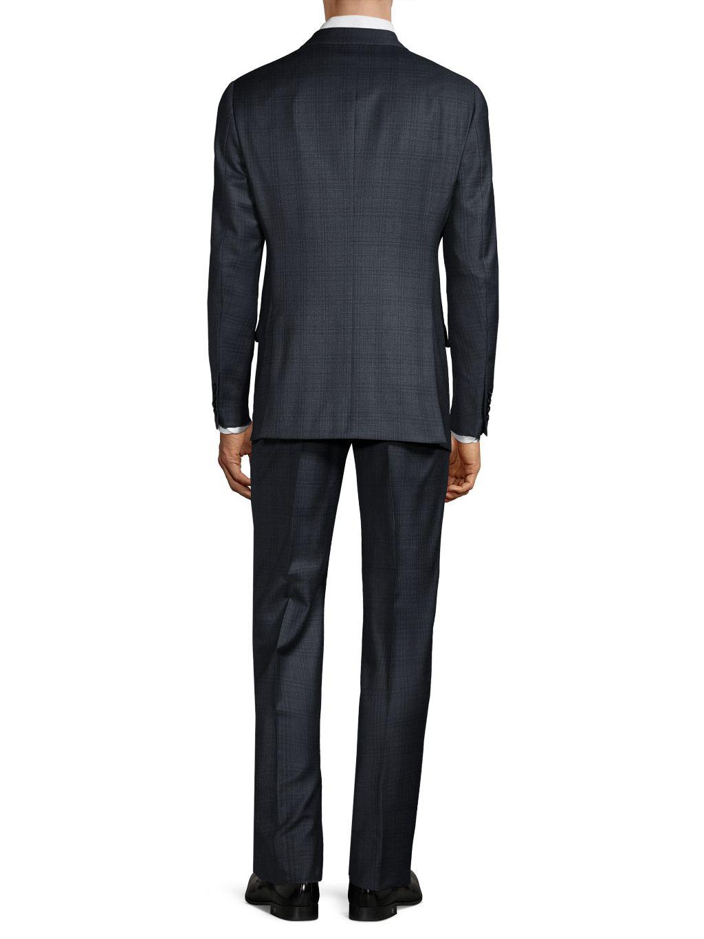 Armani Collezioni G-Line Fit Checker Virgin Wool Suit