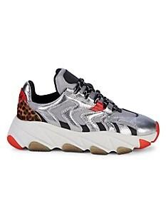 아쉬 익스트림 스니커즈 ASH Extreme Mixed-Media Calf Hair & Leather Sneakers,SILVER MULTI
