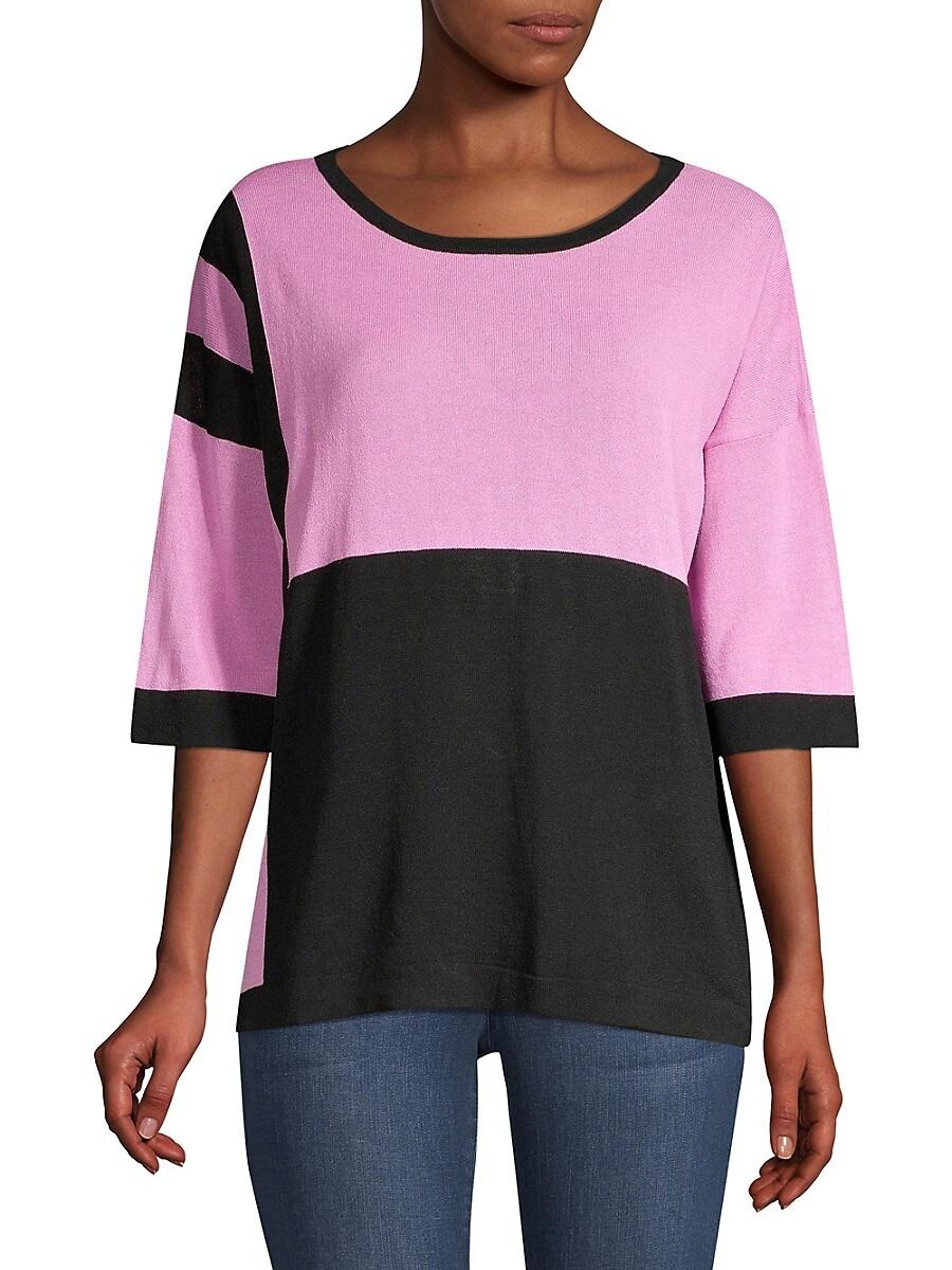 Beatrice B Women's Colorblock Sequin Zebra Knit Tee