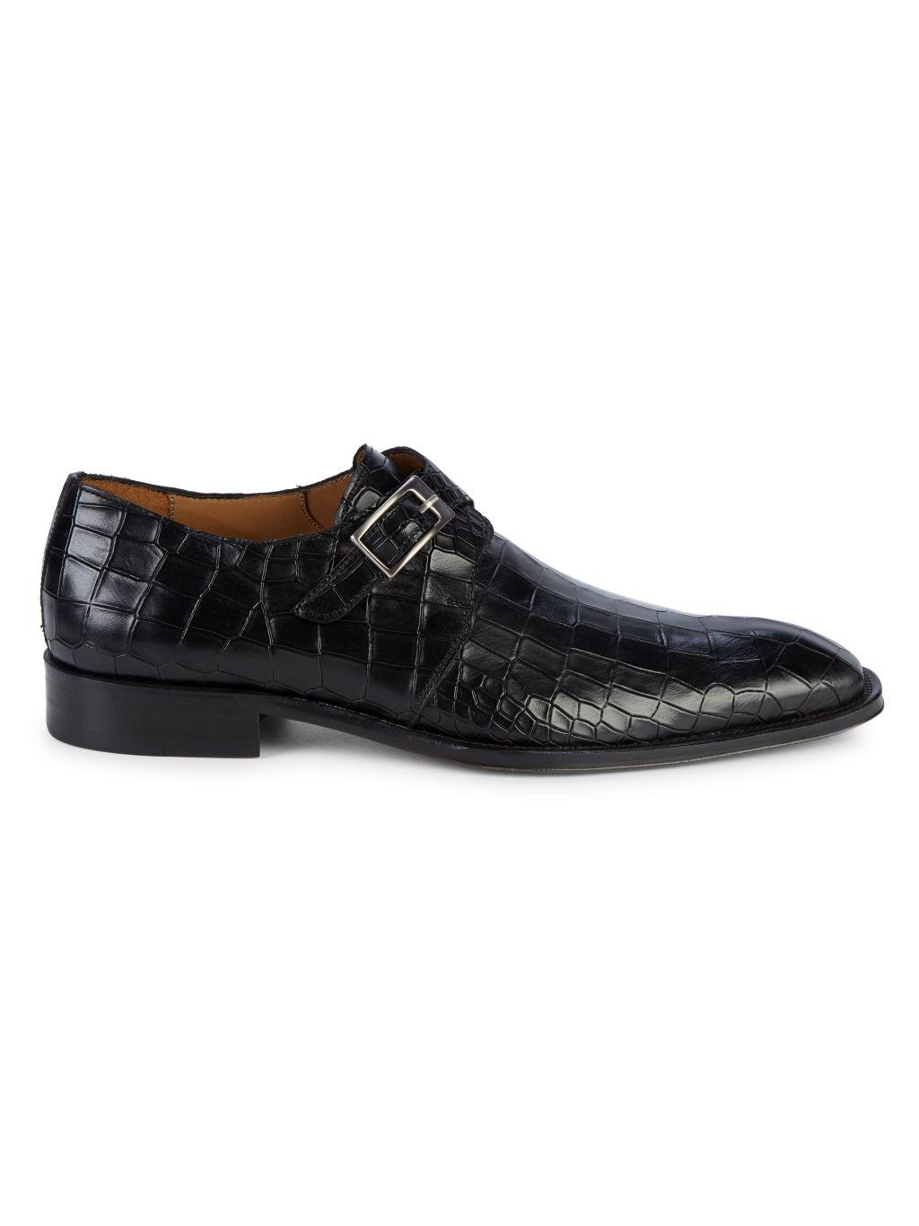 Mezlan Croc-Embossed Leather Monk-Strap Shoes