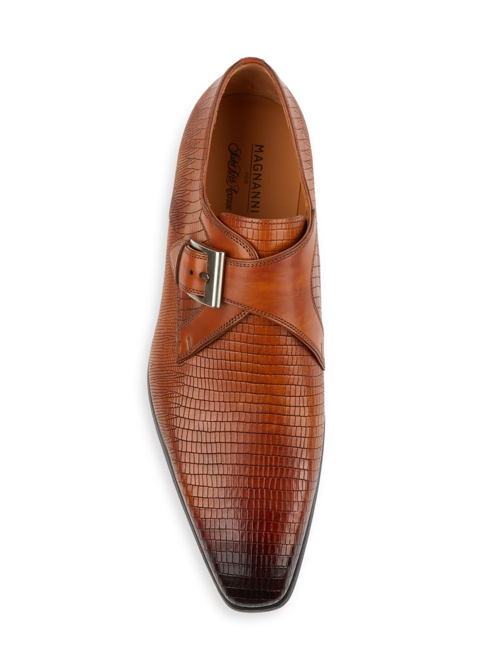 Magnanni Cuero Monk-Strap Croc-Embossed Leather Derbys