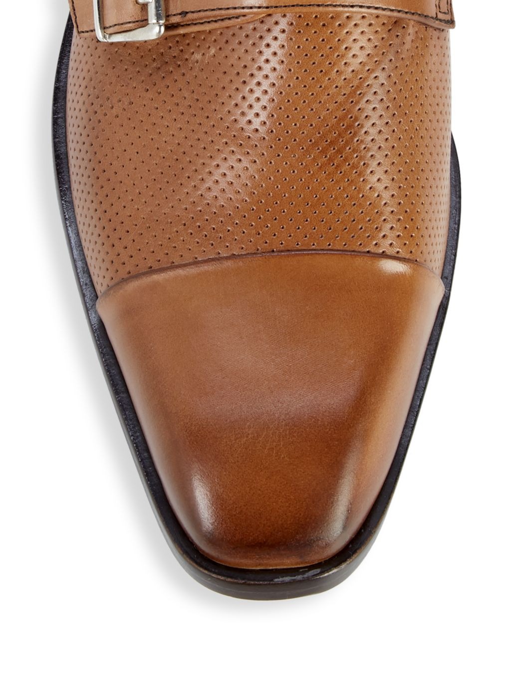 Massimo Matteo Perforated Leather Monk-Strap Shoes