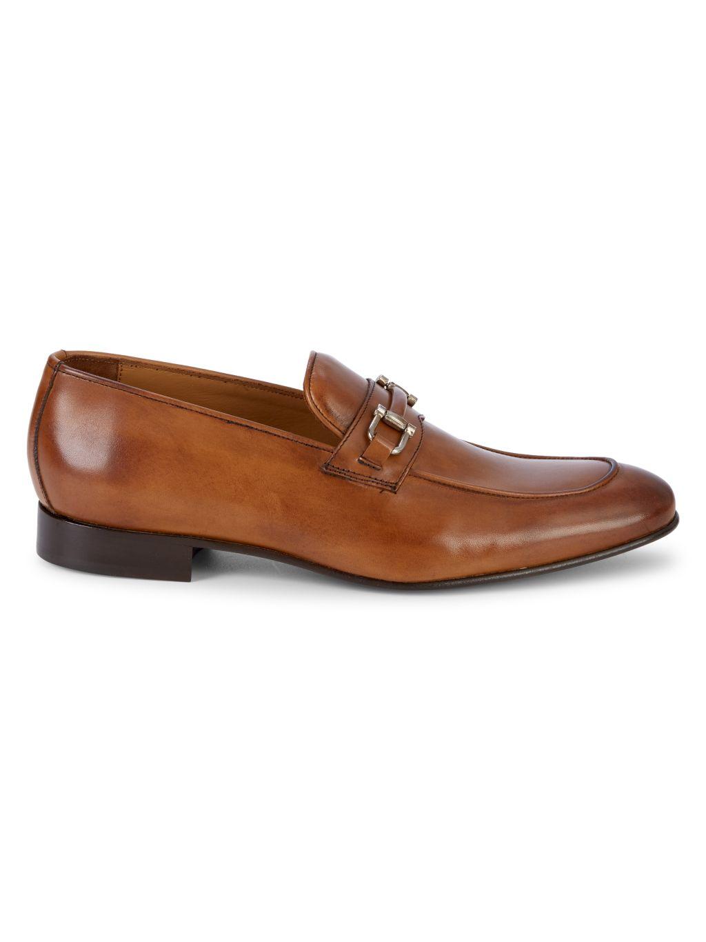 Massimo Matteo Leather Bit Loafers