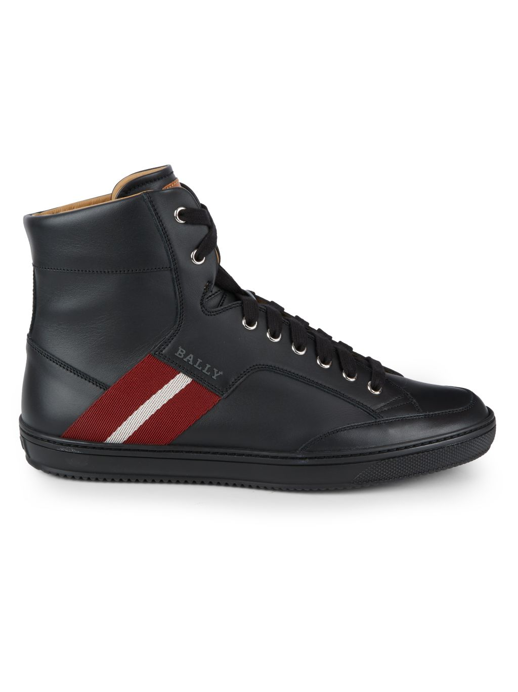 Bally Side Stripe Mix Media Leather High-Top Sneakers
