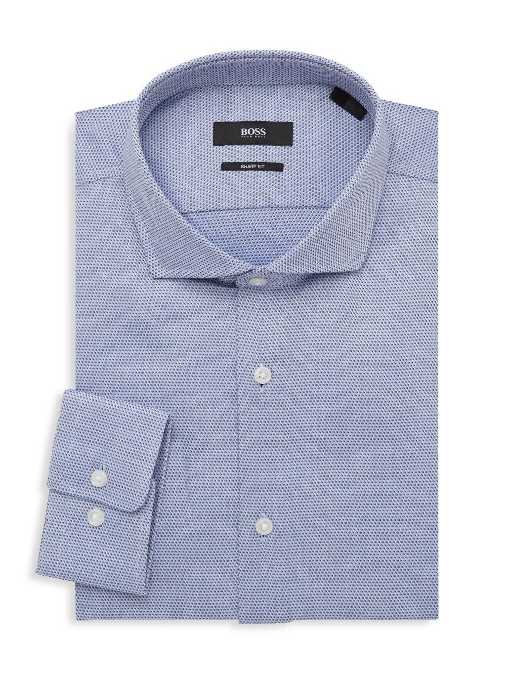 Boss Hugo Boss Mark Sharp-Fit Dotted Dress Shirt