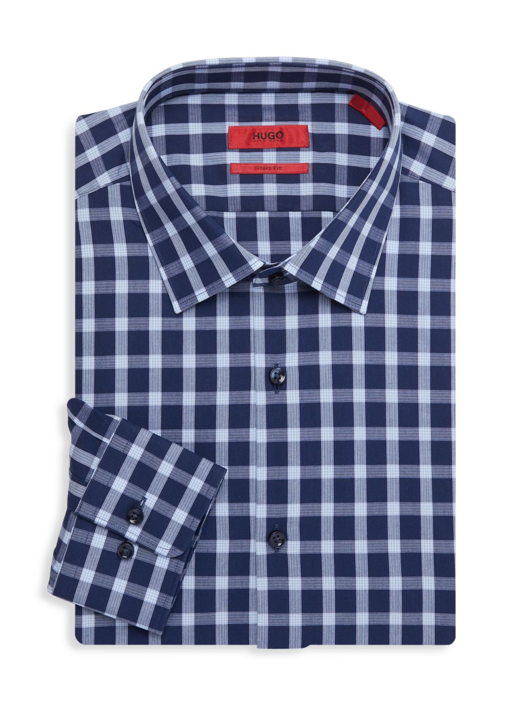 HUGO Mabel Sharp-Fit Gingham Dress Shirt