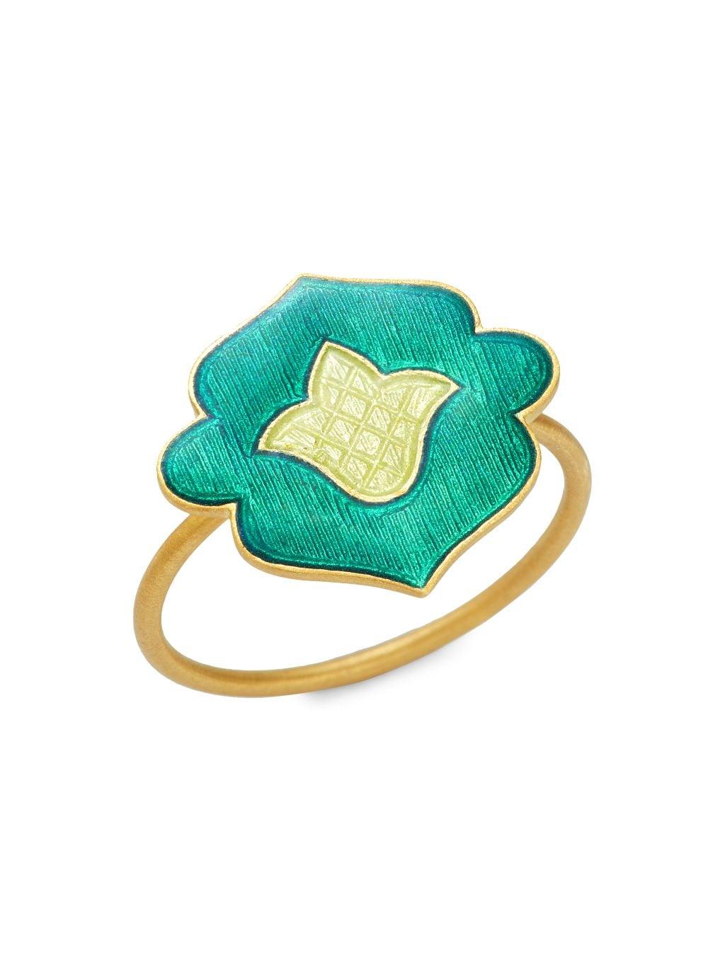 Legend Amrapali Holi 18K Yellow Gold & Enamel Ring