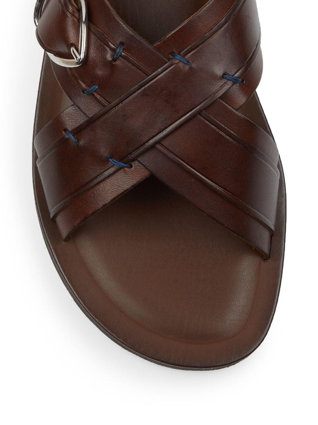 Massimo Matteo Cross Buckle Leather Slide Sandals