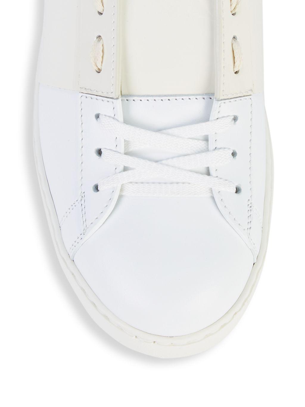 Valentino Garavani Leather & Patent Leather Open Sneakers