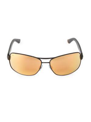 Web 65mm Metal Navigator Sunglasses In Matte Black