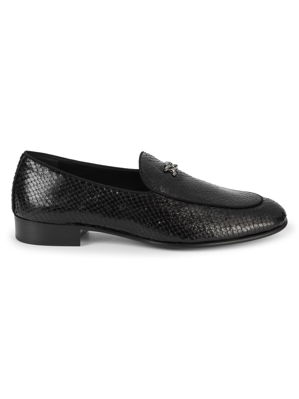 Giuseppe Zanotti Embossed Snake-Print Leather Loafers