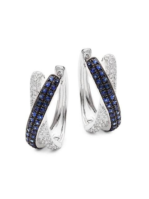 Saks Fifth Avenue 14K White Gold, Sapphire & Diamond Hoop Earrings