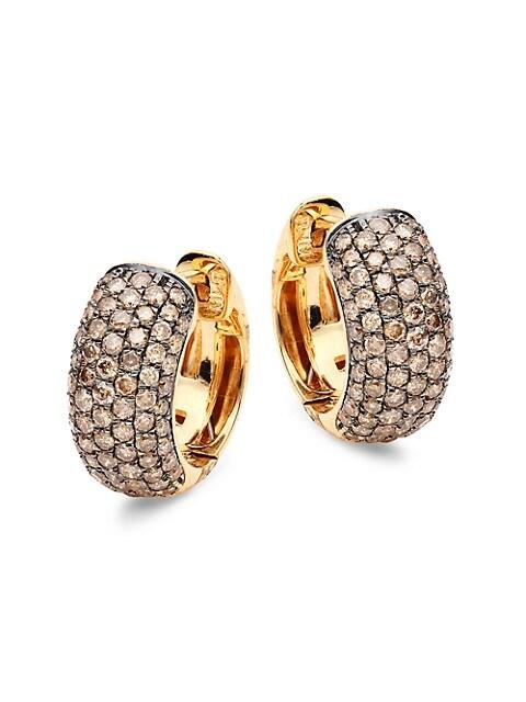Saks Fifth Avenue 14K Yellow Gold & Brown Diamond Chubby Hoop Earrings