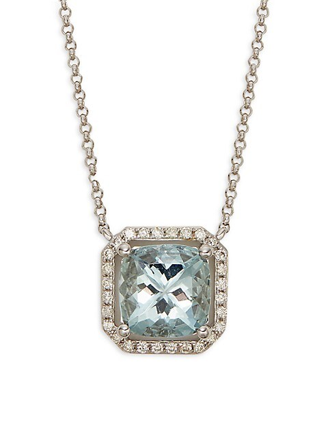 Saks Fifth Avenue 14K White Gold, Aquamarine & Diamond Pendant Necklace