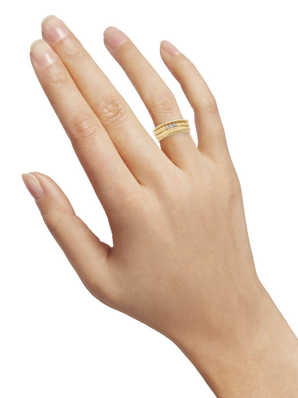 Sterling Forever 4-Piece 14K Goldplated & Crystal Stackable Ring Set