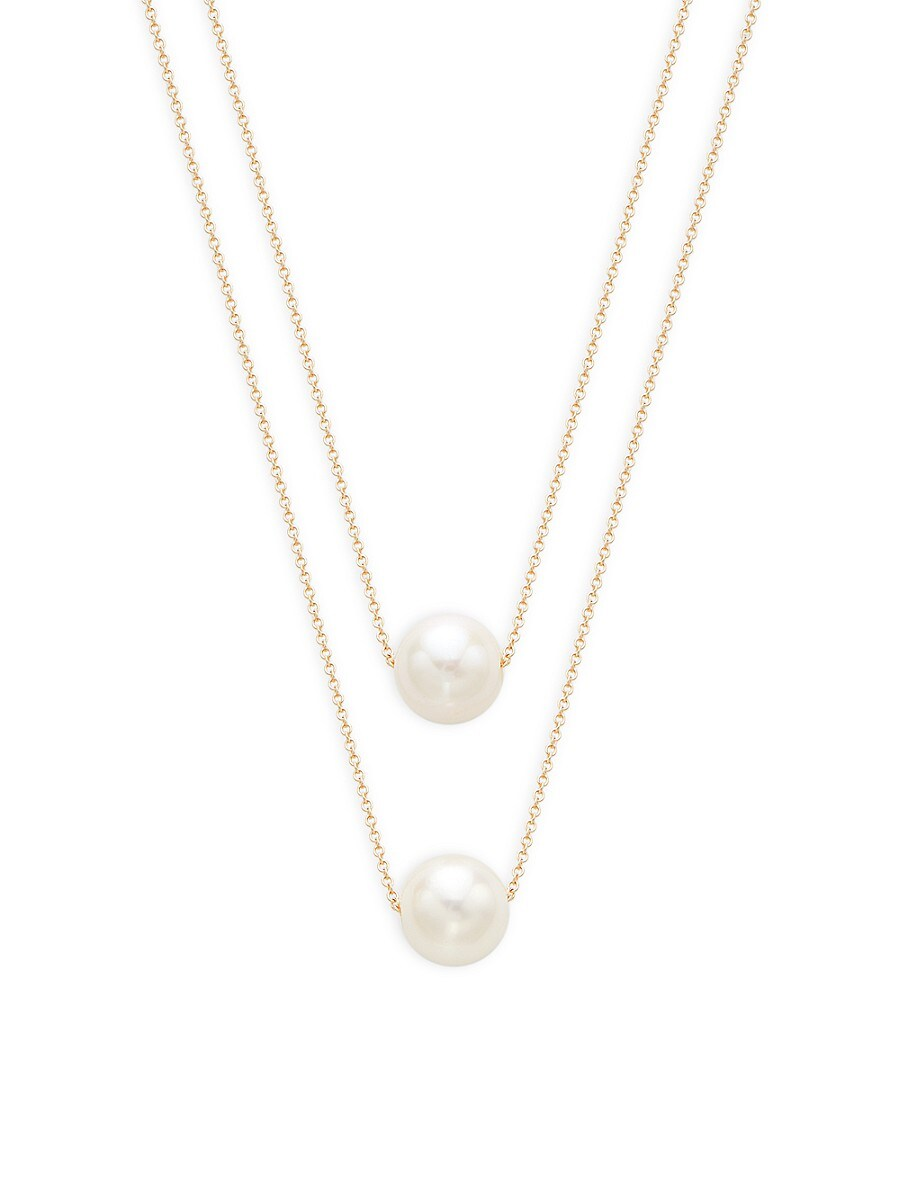 Women's 14K Yellow Gold & 10-11MM White Round Freshwater Pearl Layered Necklace