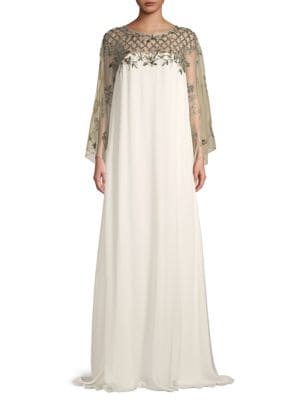 Marchesa Embellished Silk-Blend Gown