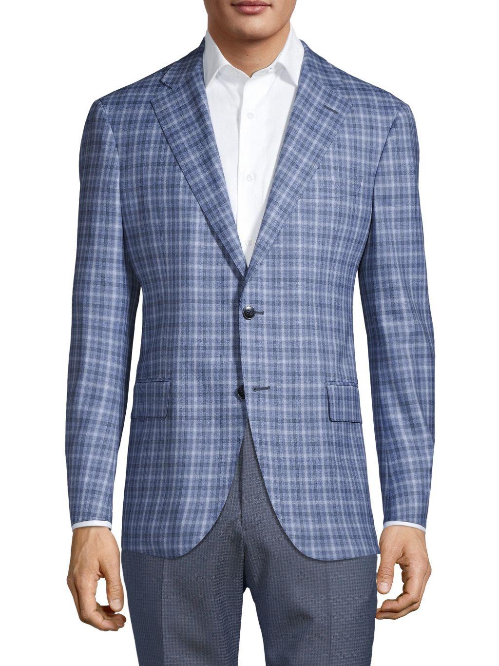 Lubiam Napoli Standard-Fit Check Virgin-Wool Jacket