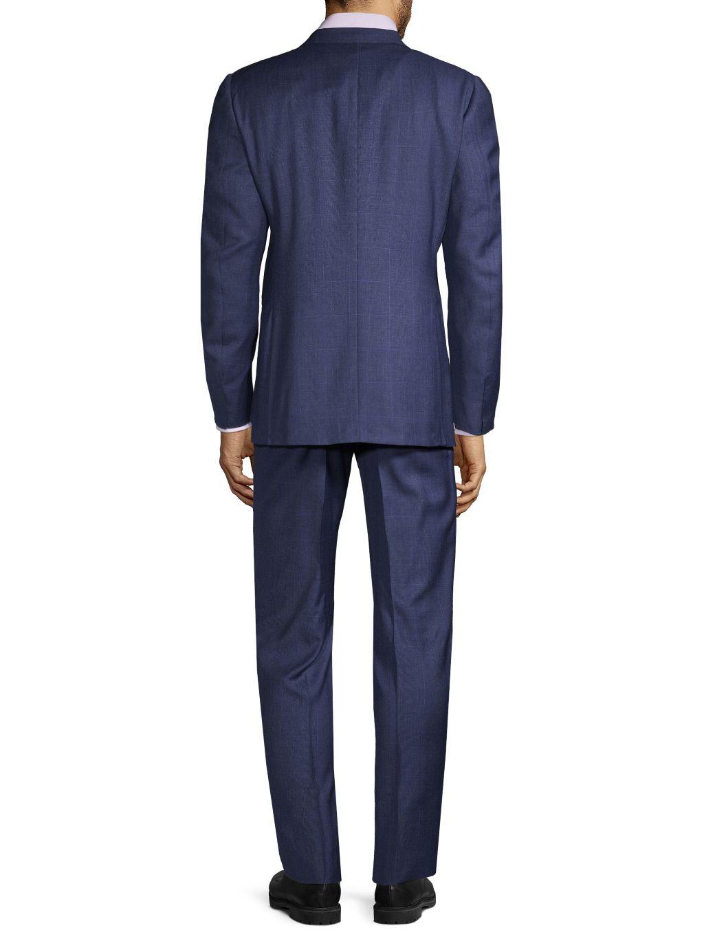 Corneliani Standard-Fit Windowpane Wool Suit