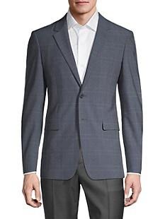 띠어리 Theory Hudson Standard-Fit Plaid Jacket,BLUE