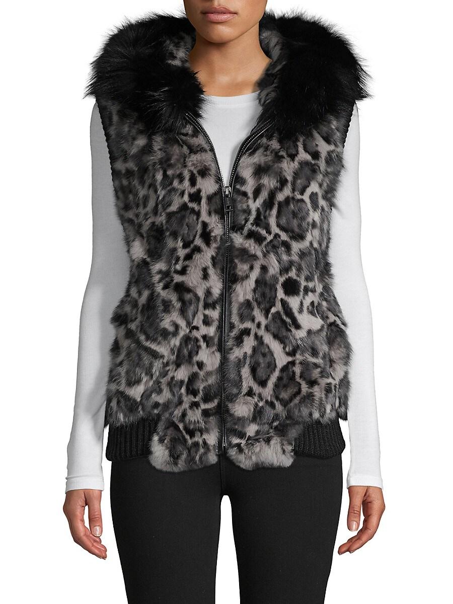 Women's Jaguar-Print Hooded Rabbit & Fox Fur Vest
