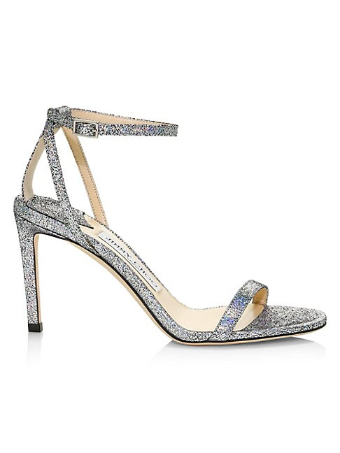 Jimmy Choo Leathers MINNY ANKLE-STRAP METALLIC LEATHER SANDALS