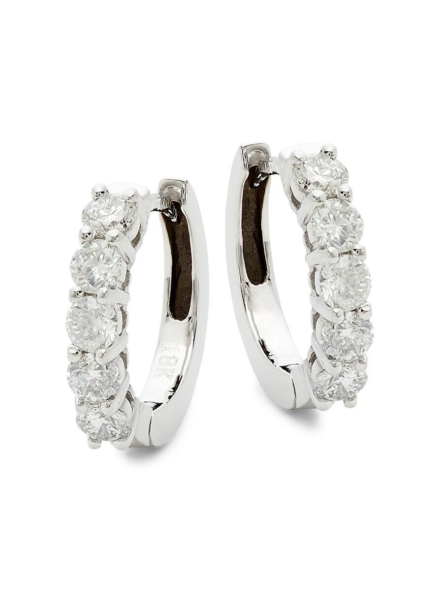Women's 14K White Gold & 1.0 TCW Diamond Huggie Hoop Earrings