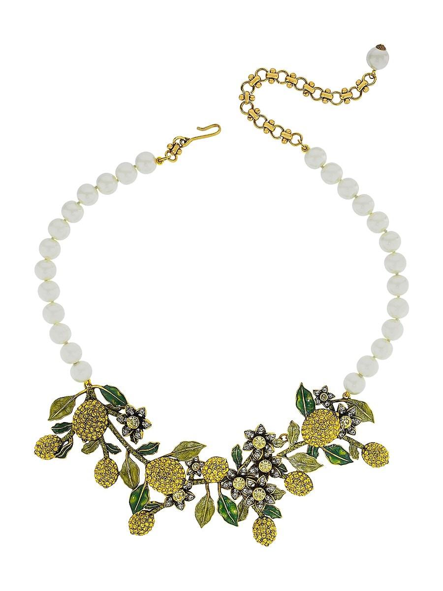 Women's A Lot of Lemons Faux Pearl & Crystal Floral Bib Necklace