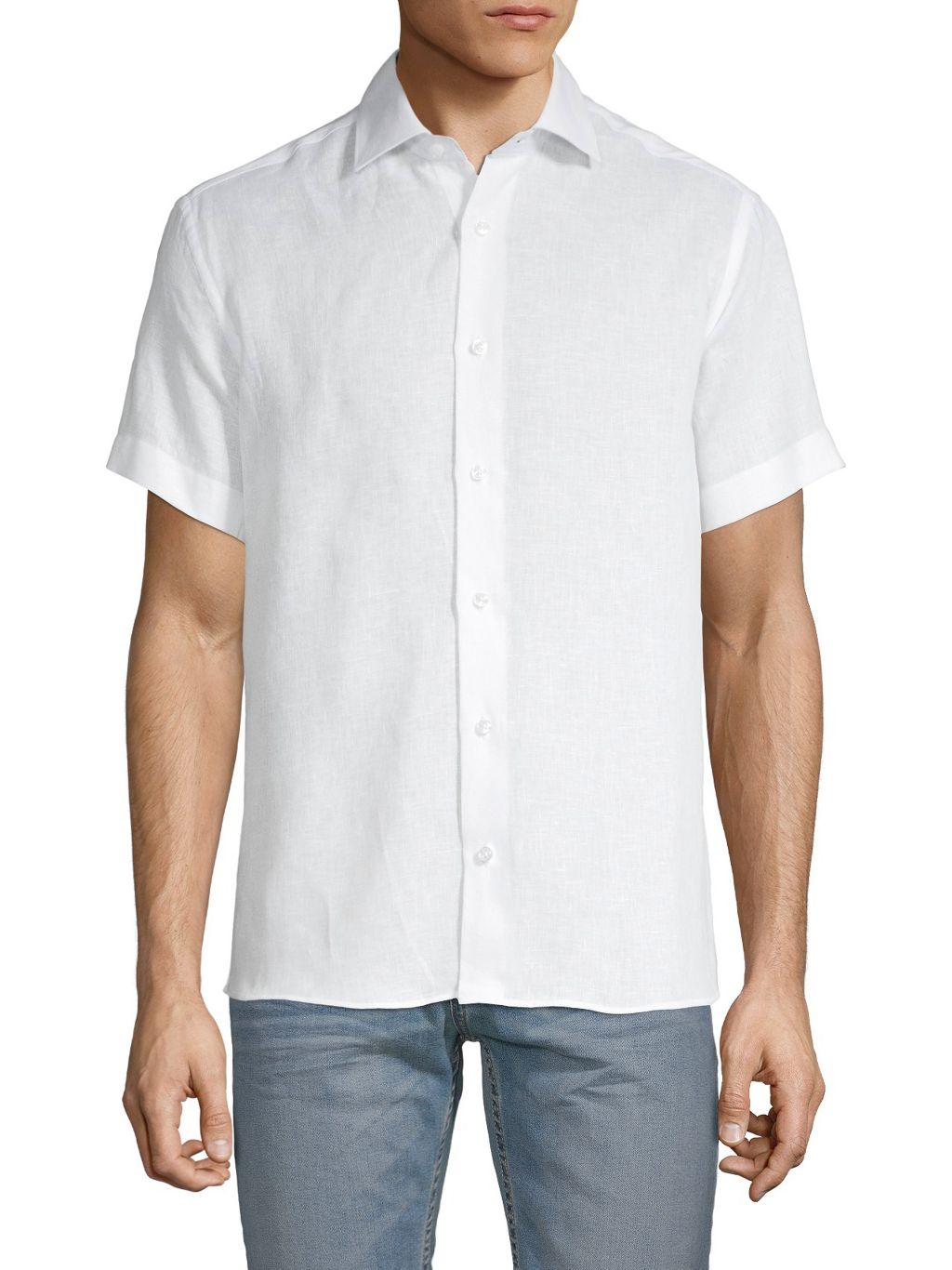 Bertigo Will Solid Linen Short-Sleeve Shirt