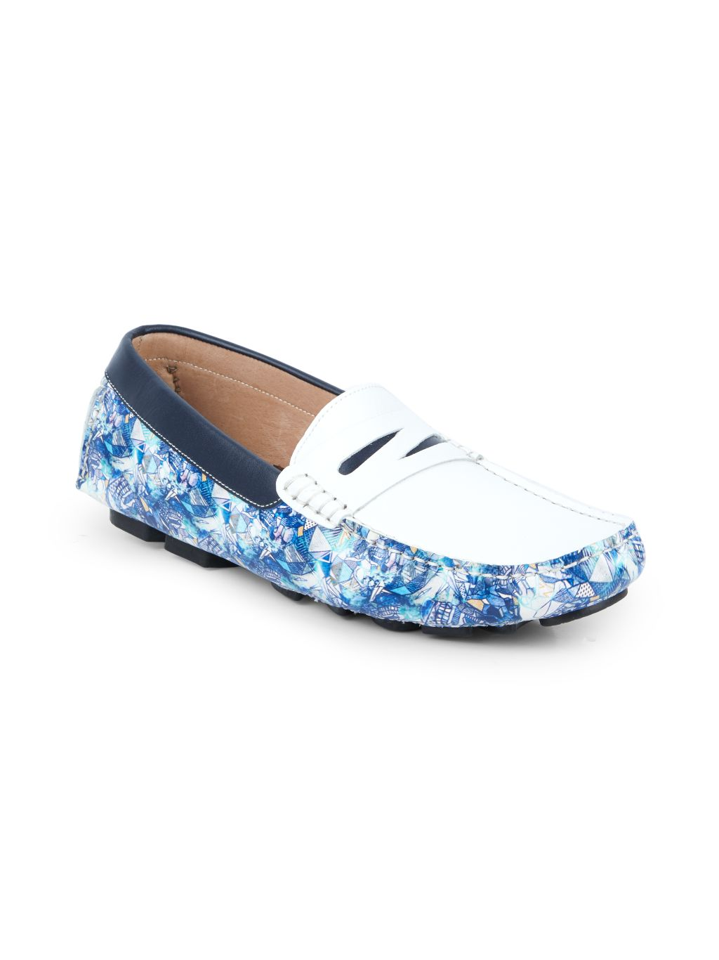 Robert Graham Doggerland-Print Leather Driving Loafers