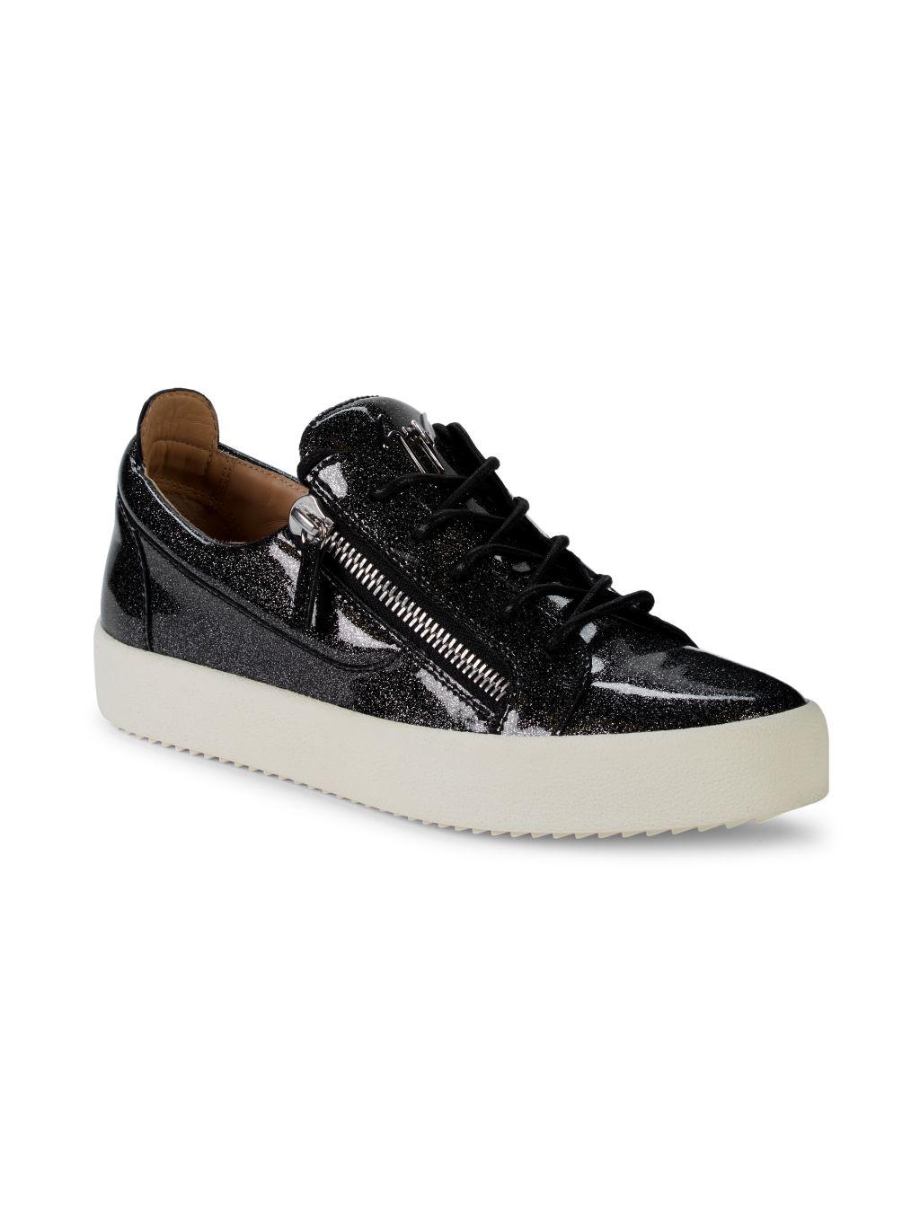 Giuseppe Zanotti Low-Top Patent Leather Glitter Sneakers