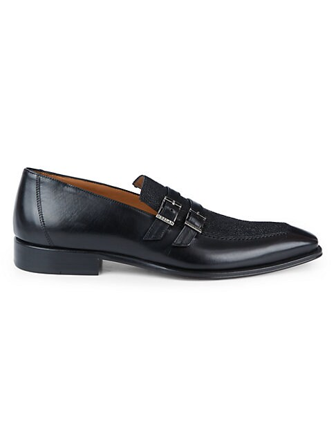 Mezlan TEXTURE LEATHER STRAP LOAFERS