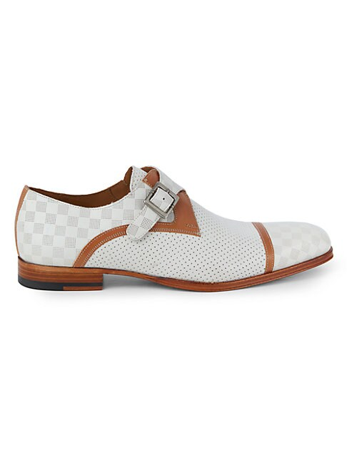 Mezlan GRID & PERFORATION LEATHER MONK-STRAP OXFORD LOAFERS